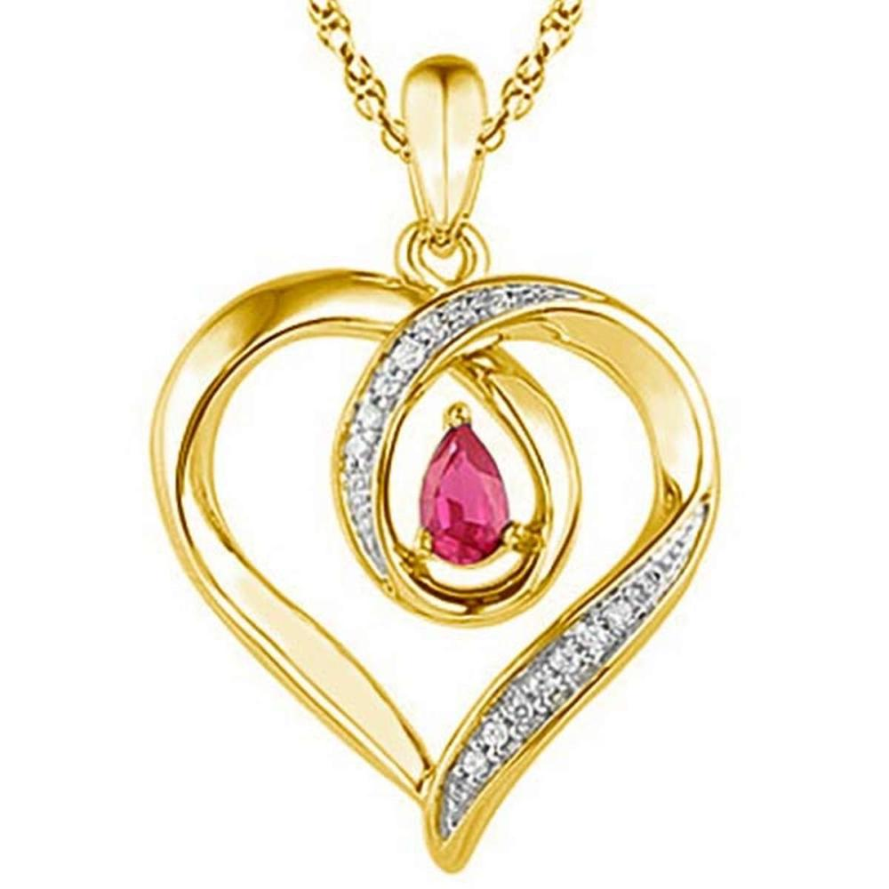 0.6 CARAT RUBY & CZ 14KT SOLID YELLOW GOLD PENDANT #IRS77080