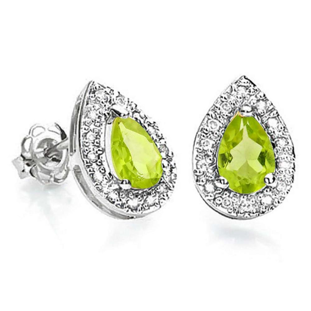 0.79 CT PERIDOT AND ACCENT DIAMOND 10KT SOLID WHITE GOLD EARRING #IRS93763