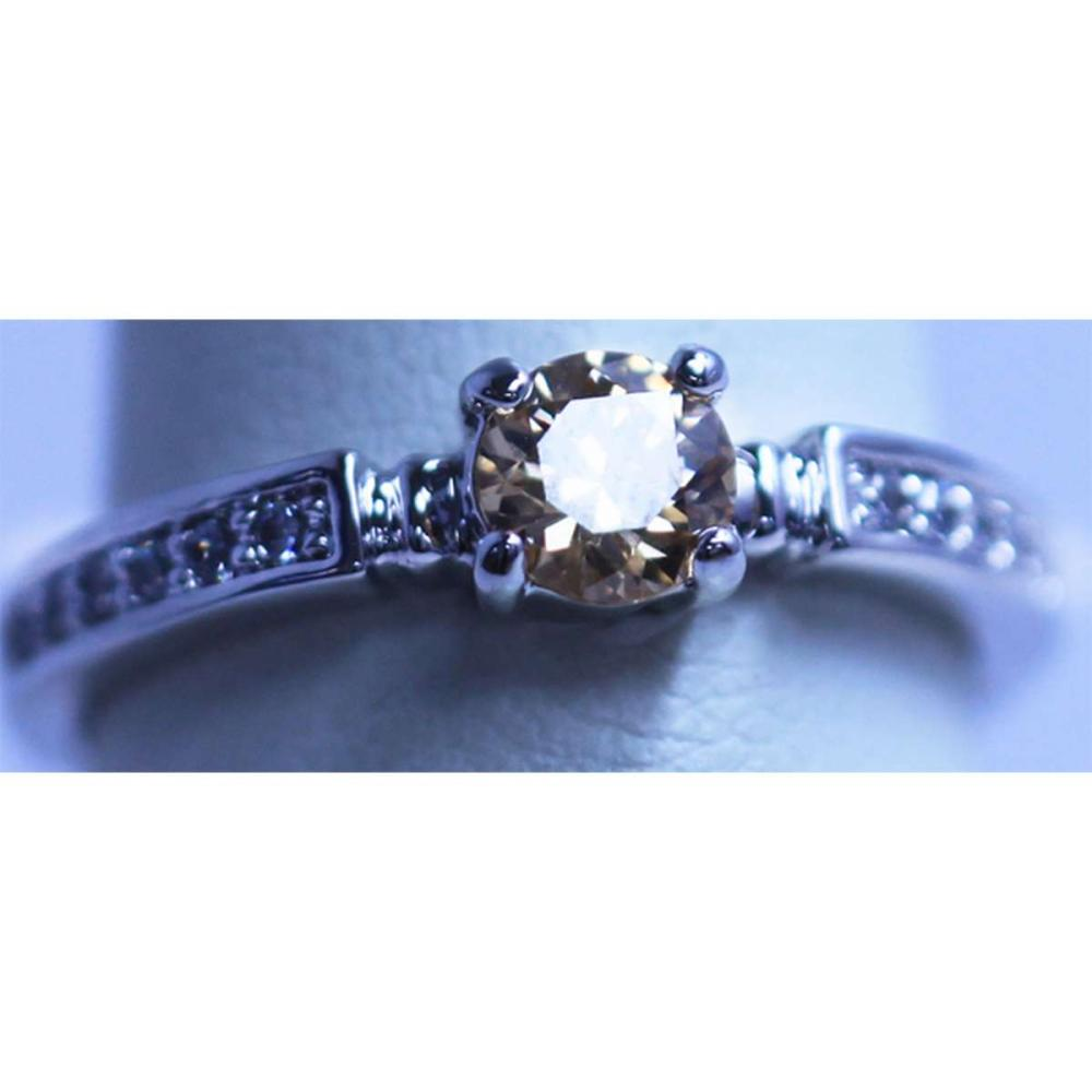 PEACH AND WHITE CZ RING #IRS32176