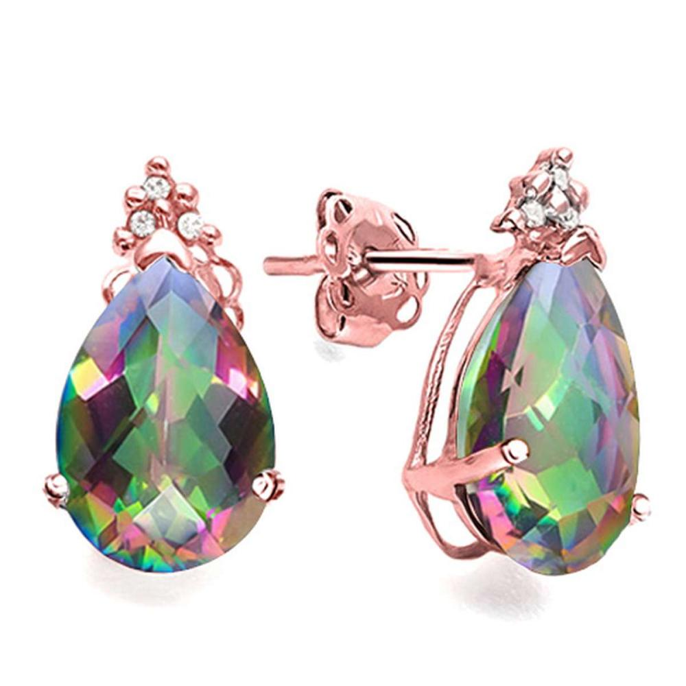 1.37 CT RAINBOW MYSTIC QUARTZ AND ACCENT DIAMOND 10KT SOLID ROSE GOLD EARRING #IRS93749