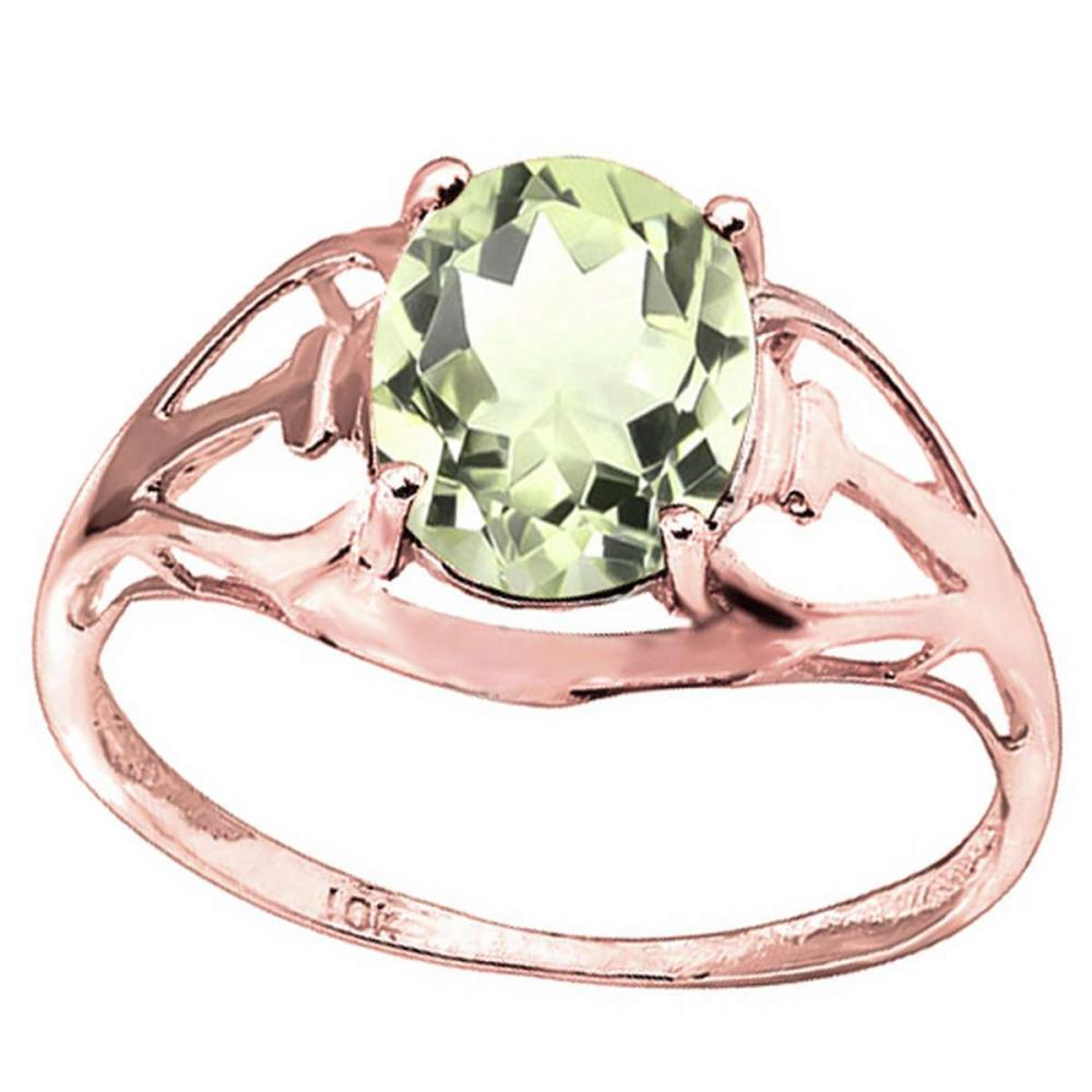 1.1 CT GREEN AMETHYST 10KT SOLID RED GOLD RING #IRS93825