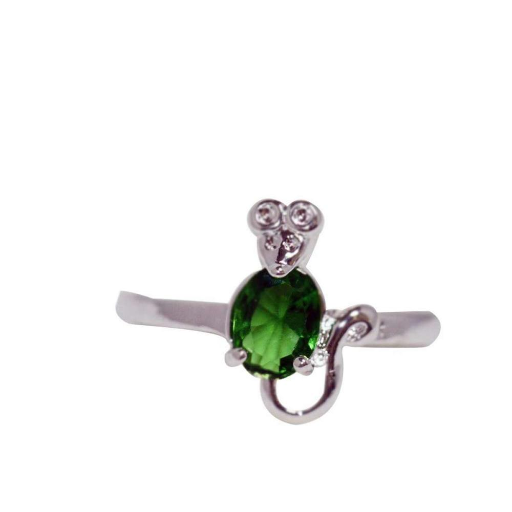 EMERALD CZ .925 STERLING SILVER RING #IRS42229