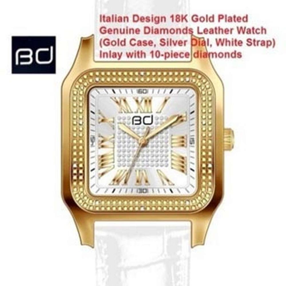 18K GOLD PLATED GENUINE DIAMOND WRIST WATCH #IRS45595