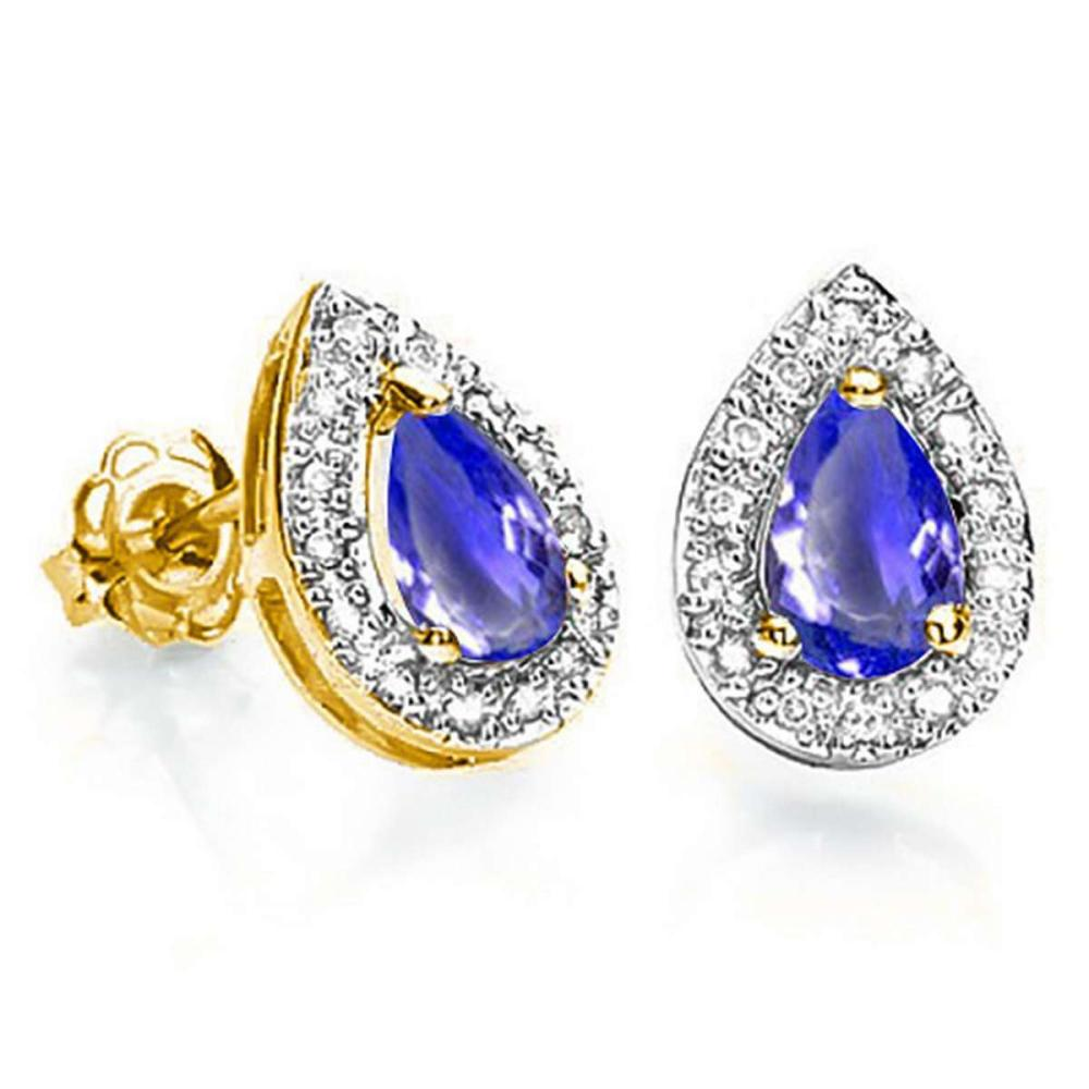 0.61 CT TANZANITE AND ACCENT DIAMOND 10KT SOLID YELLOW GOLD EARRING #IRS93768