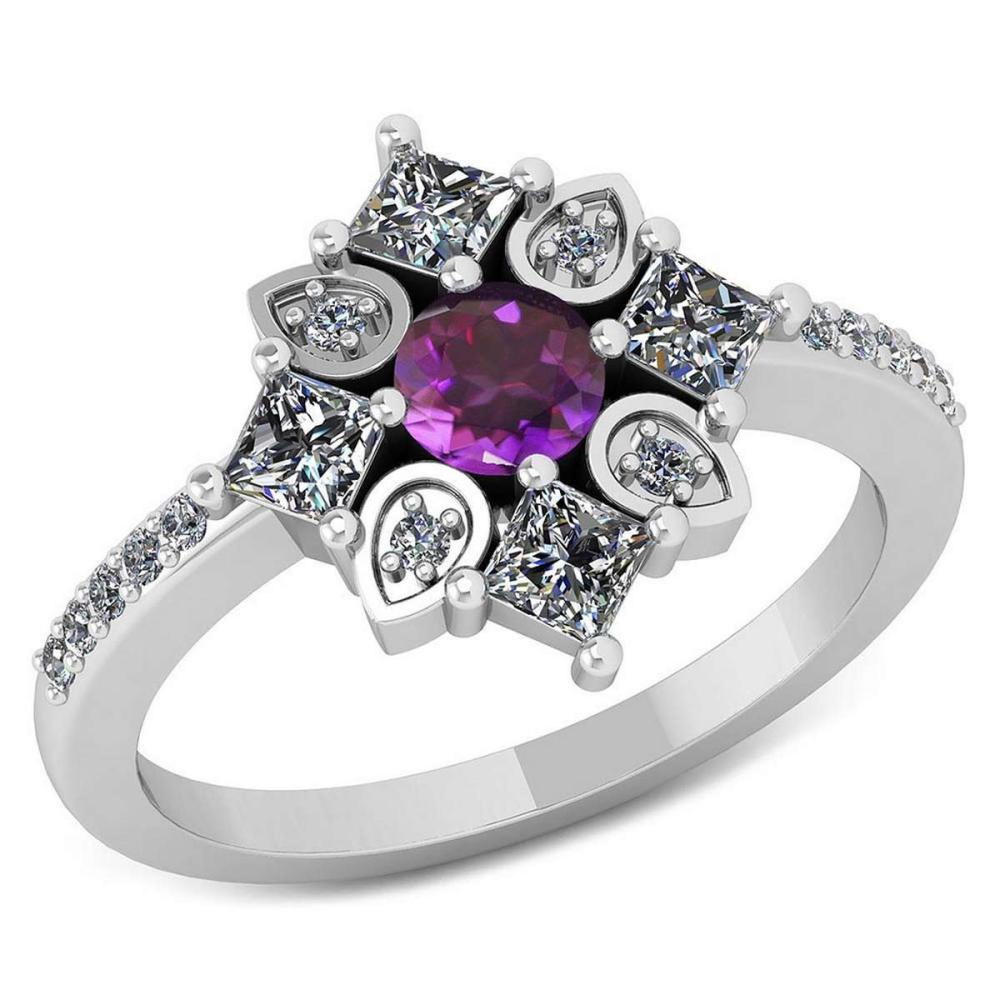 Certified .74 CTW Genuine Amethyst And Diamond 14K White Gold Ring #IRS91799