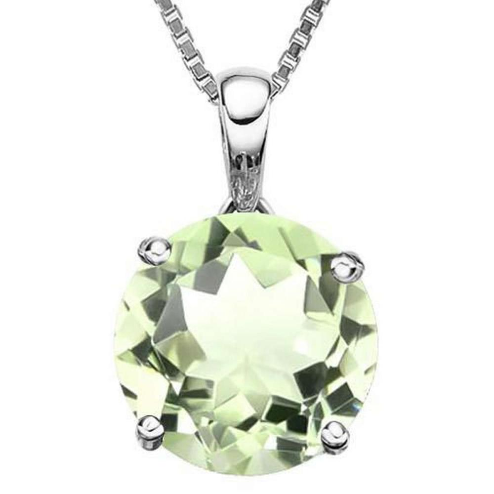 0.75 CTW GREEN AMETHYST 10K SOLID WHITE GOLD ROUND SHAPE PENDANT #IRS36872