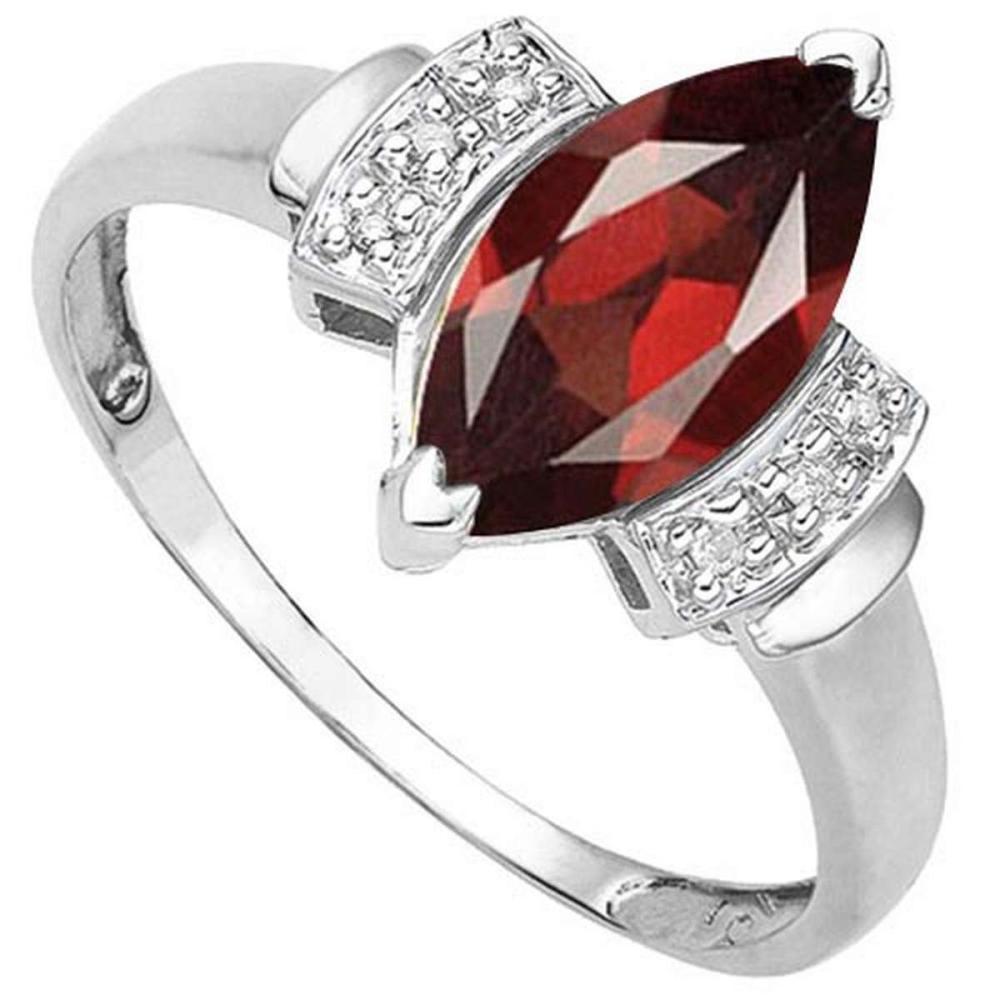 1.7 CTW GENUINE GARNET & GENUINE DIAMOND (6 PCS) 10KT SOLID WHITE GOLD RING #IRS57284