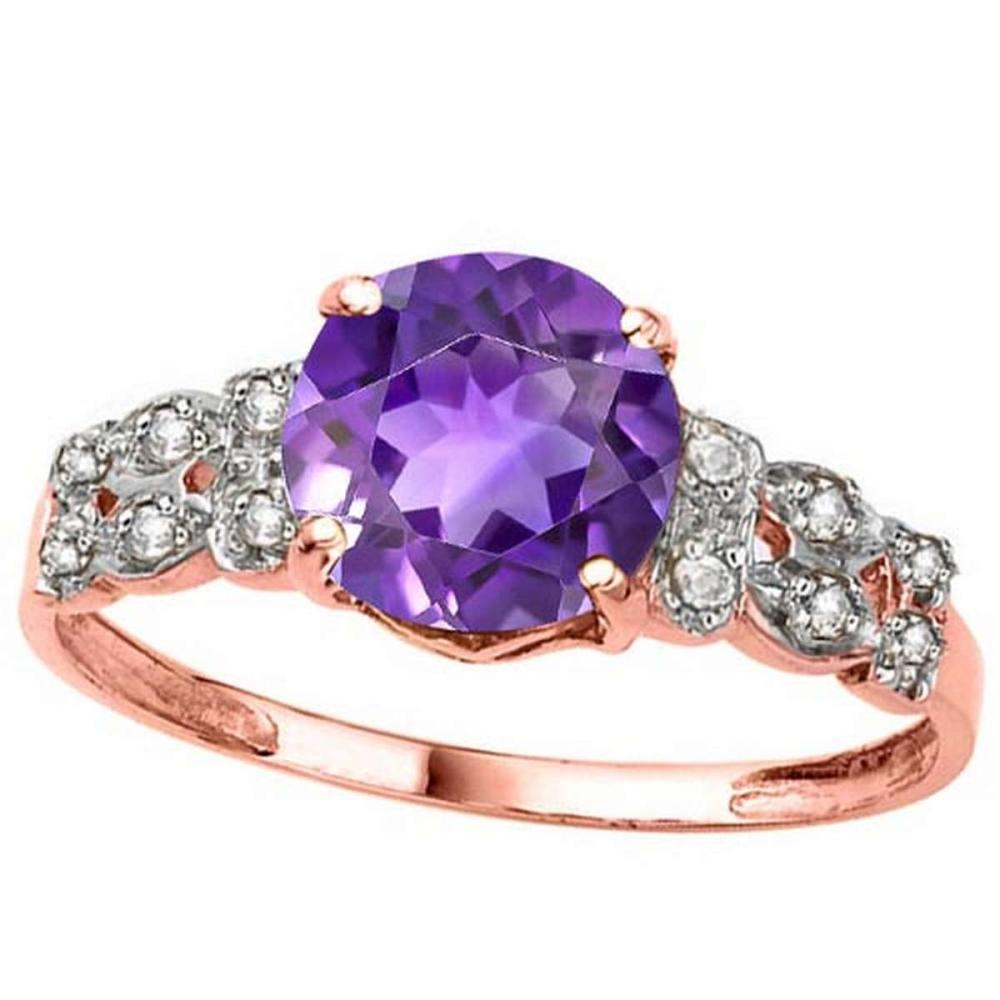 1.9 CTW GENUINE AMETHYST & GENUINE DIAMOND (12 PCS) 10KT SOLID RED GOLD RING #IRS80964