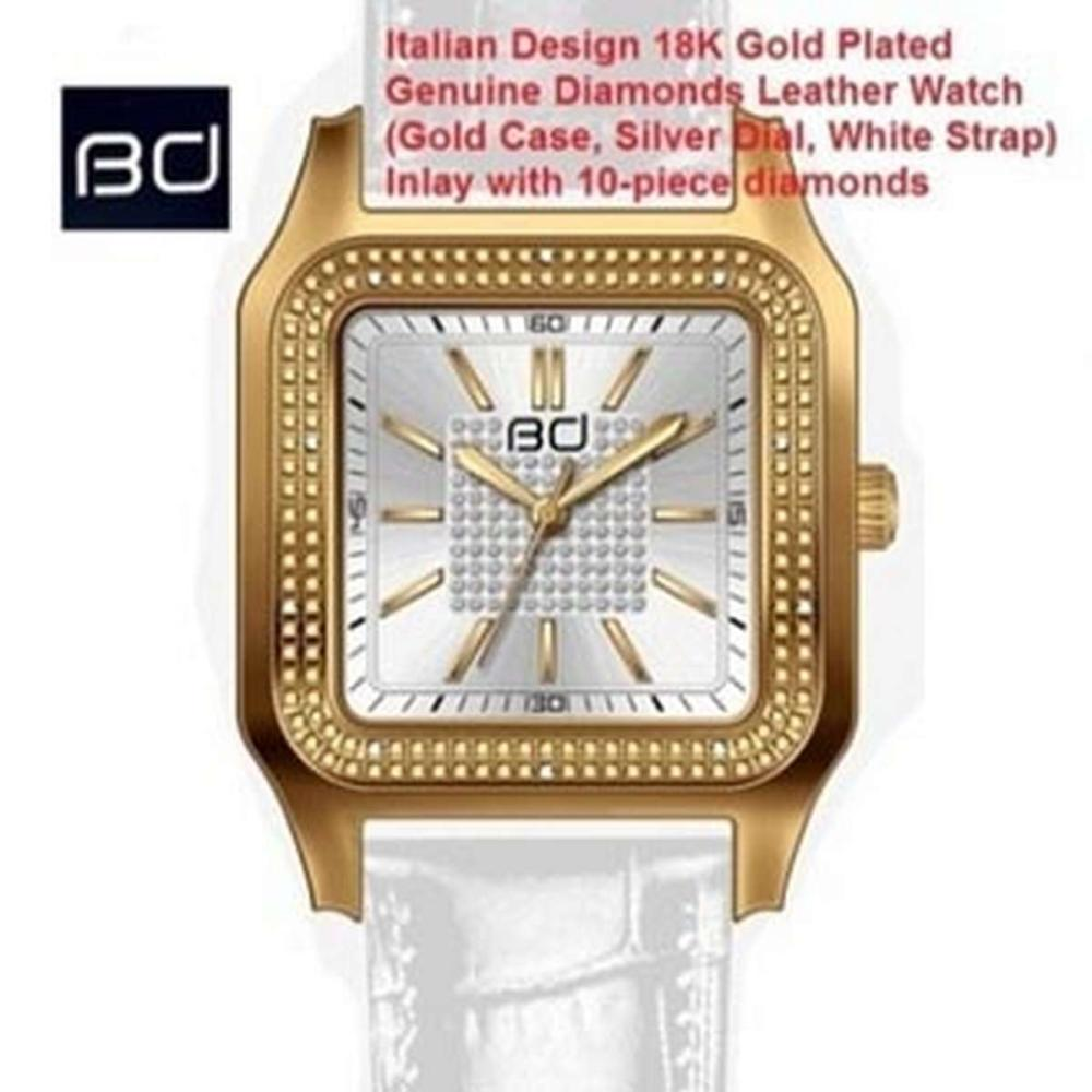 18K GOLD PLATED GENUINE DIAMOND WRIST WATCH #IRS45597