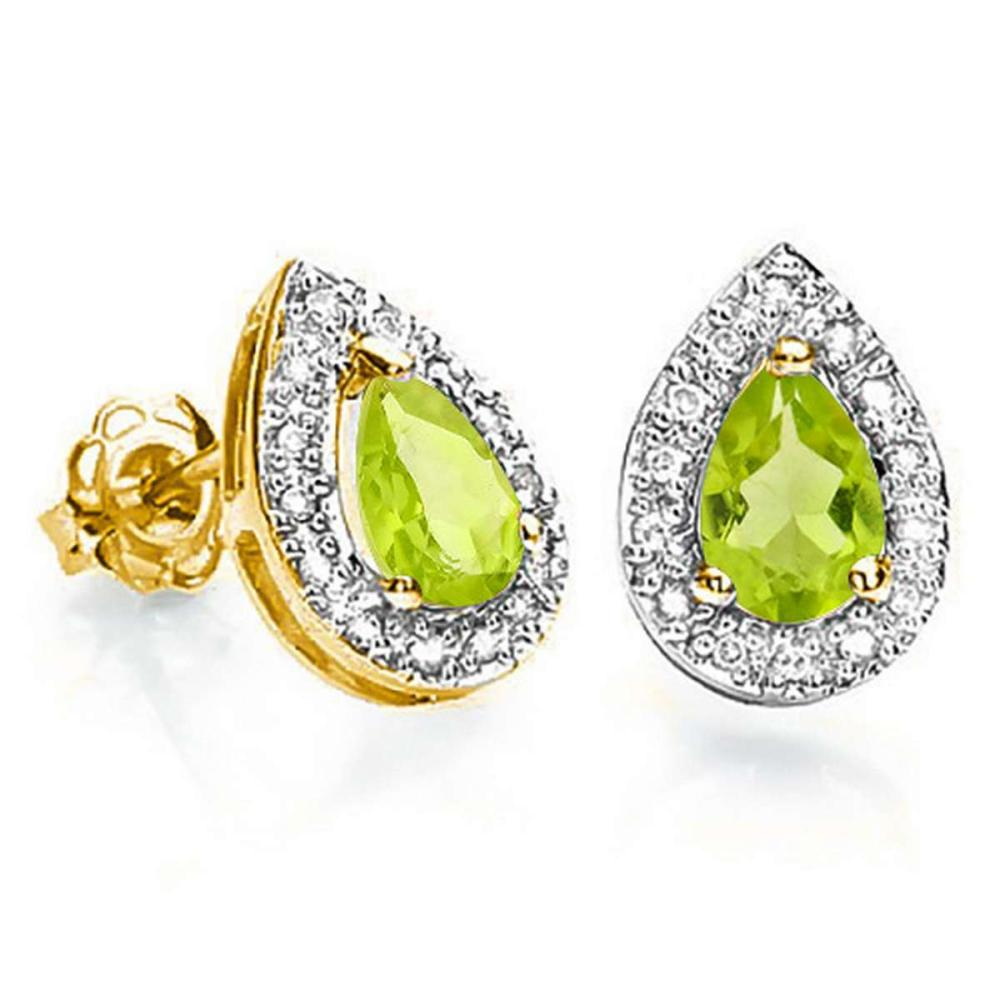 0.79 CT PERIDOT AND ACCENT DIAMOND 10KT SOLID YELLOW GOLD EARRING #IRS93775