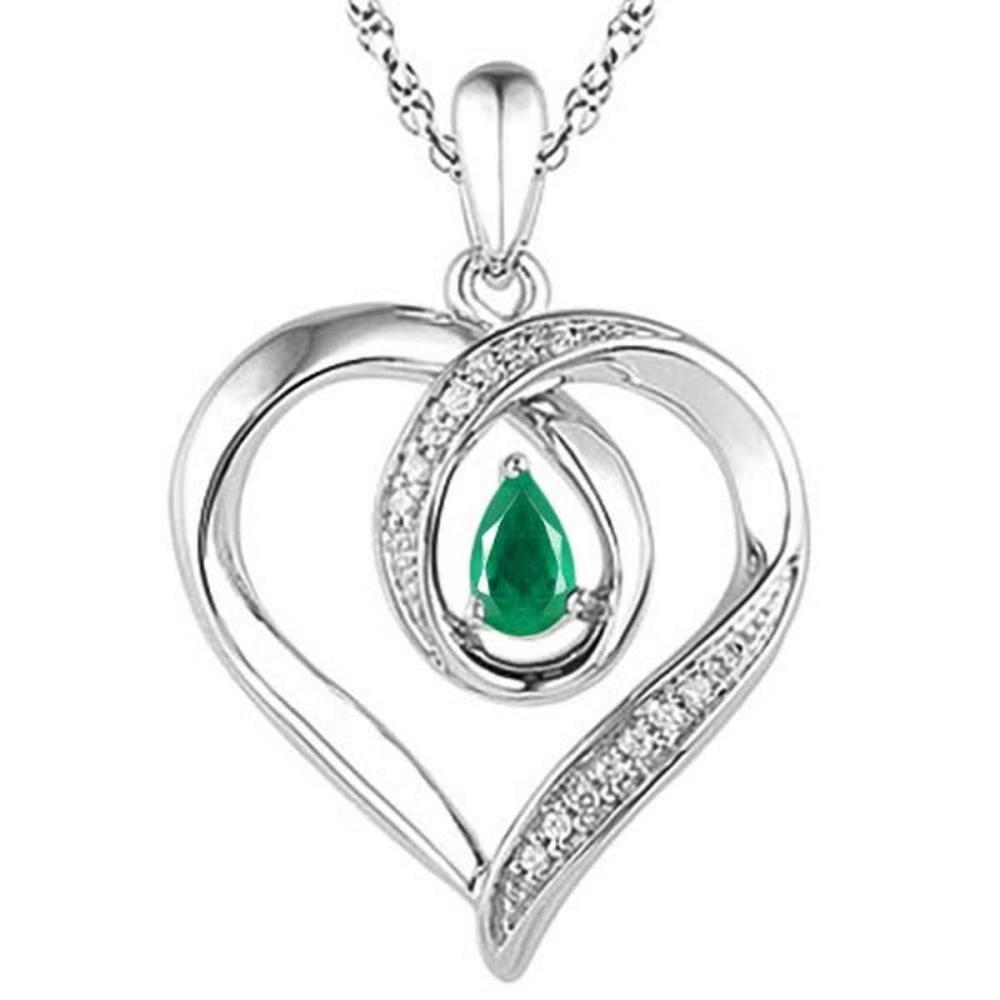 0.4 CARAT EMERALD & CZ 14KT SOLID WHITE GOLD PENDANT #IRS77110