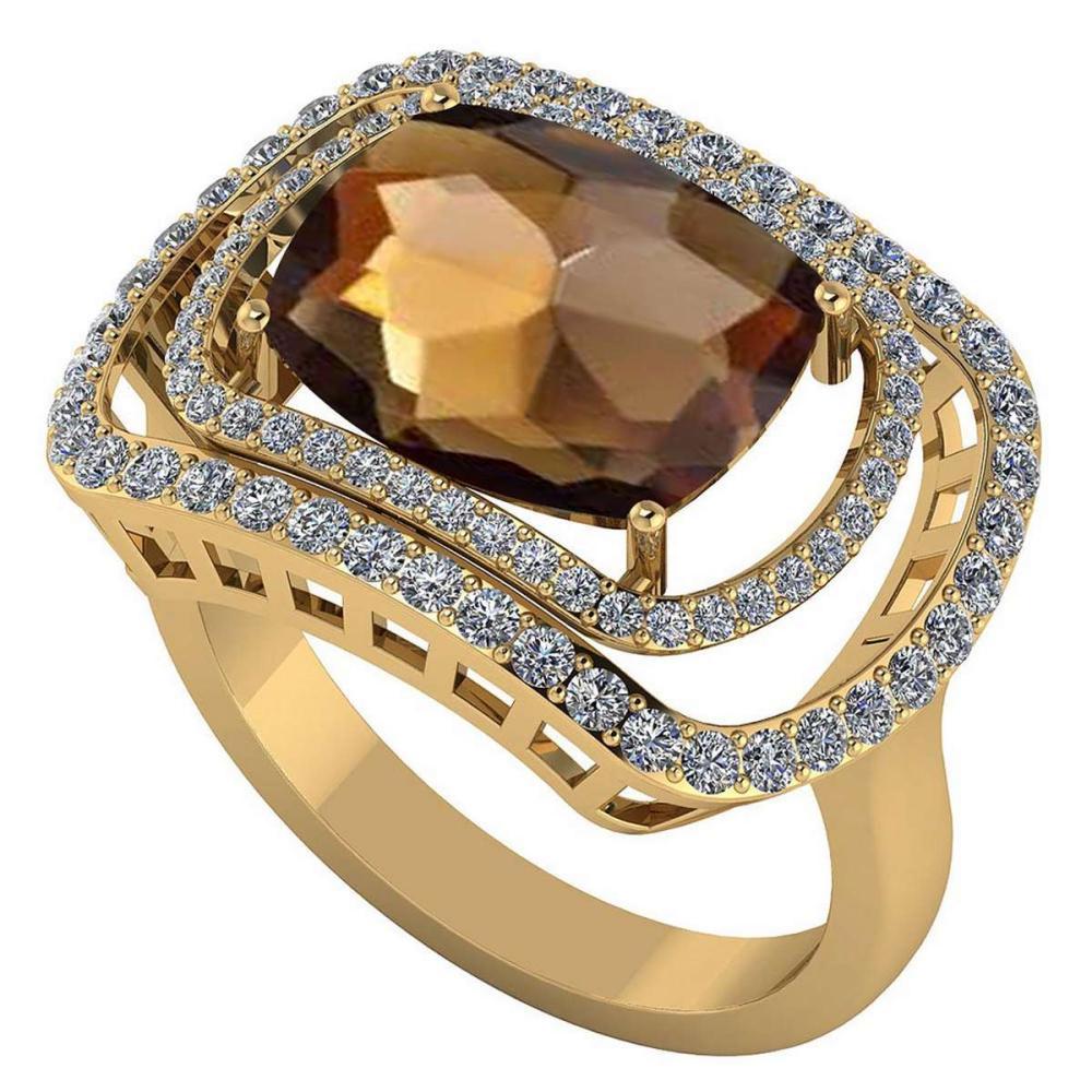 Certified 3.60 CTW Genuine Smoky Quartz And Diamond 14K Yellow Gold Ring #IRS91826