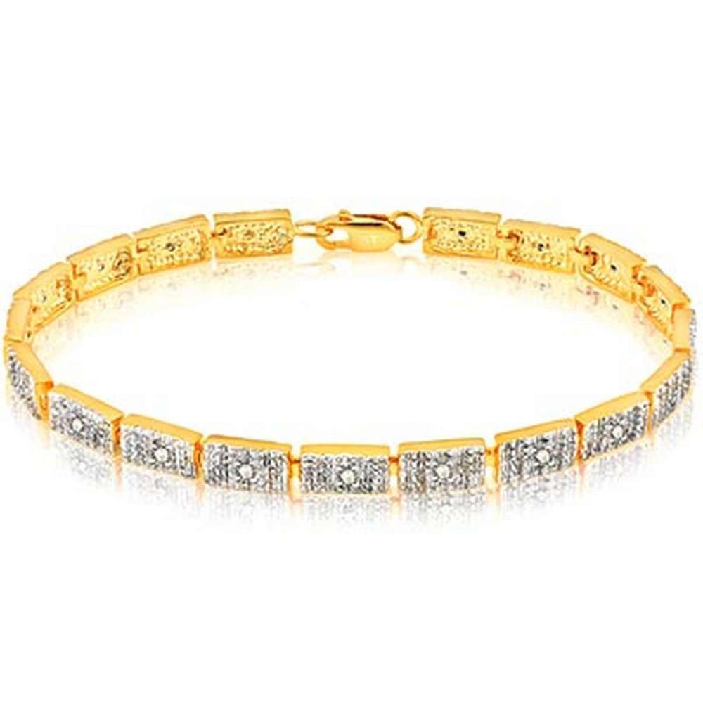 14K Yellow Gold Plated 0.086 Carat Genuine White Diamond .925 Sterling Silver Bracelet #IRS91163
