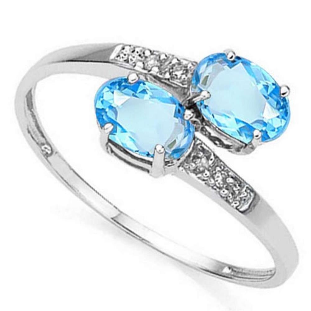 1.2 CTW SKY BLUE TOPAZ & GENUINE DIAMOND (6 PCS) 10KT SOLID WHITE GOLD RING #IRS56496