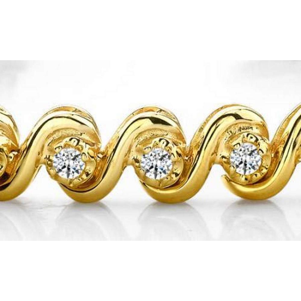 14K YELLOW GOLD .65 CTW G-H VS2/SI1 DIAMOND TENNIS BRACELET #IRS19928