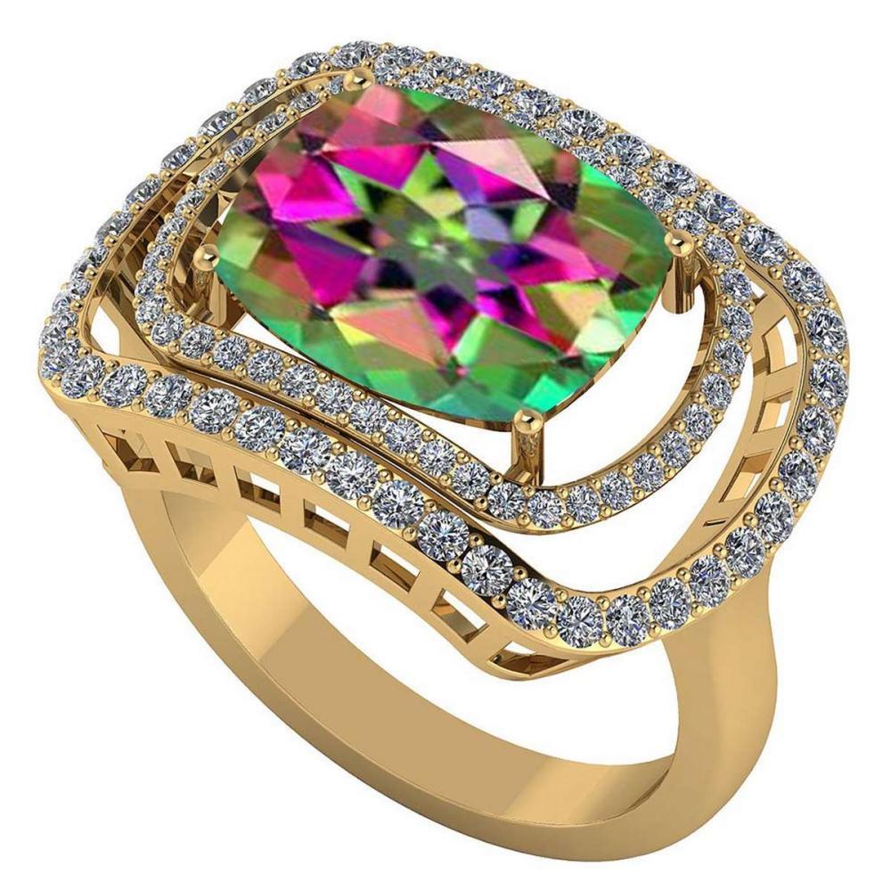 Certified 3.60 CTW Genuine Mystic Topaz And Diamond 14K Yellow Gold Ring #IRS91823