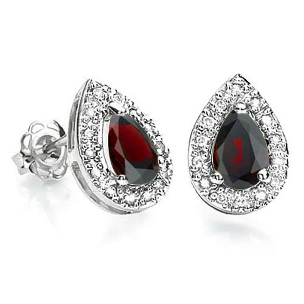 0.69 CT GARNET AND ACCENT DIAMOND 10KT SOLID WHITE GOLD EARRING #IRS93758