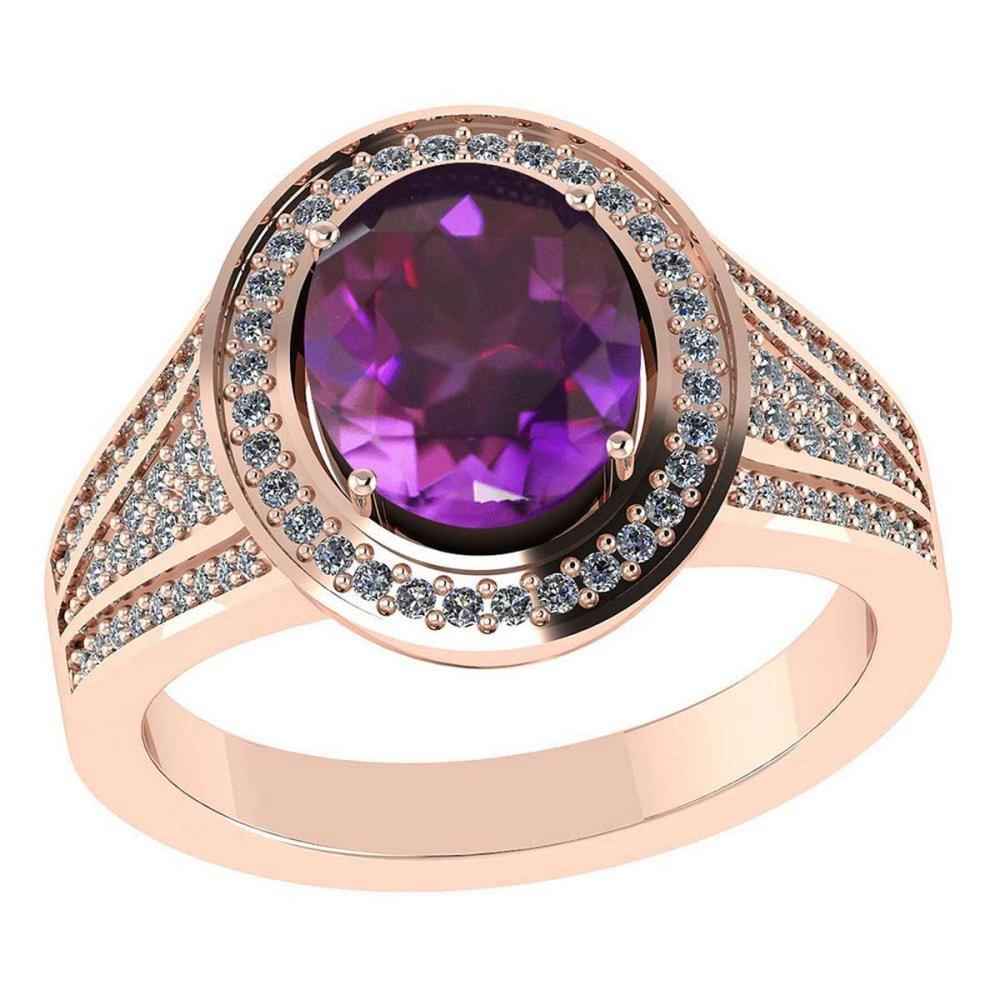 Certified 2.10 CTW Genuine Amethyst And Diamond 14K Rose Gold Ring #IRS91854
