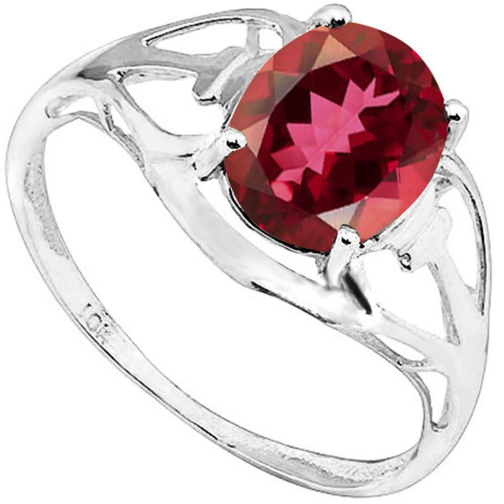 1.7 CT MOZAMBIQUE GARNET 10KT SOLID WHITE GOLD RING #IRS93800
