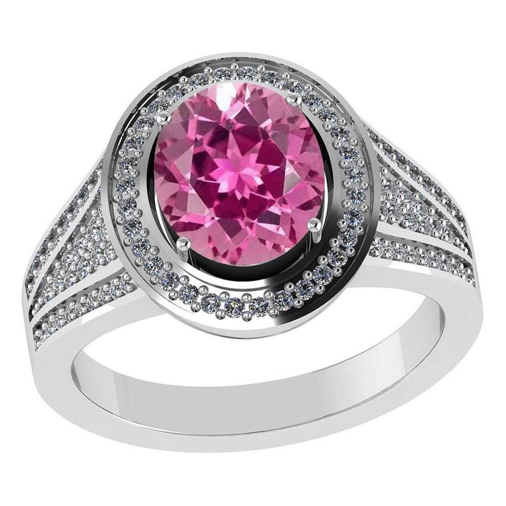 Certified 2.50 CTW Genuine Pink Tourmaline And Diamond 14K White Gold Ring #IRS91839