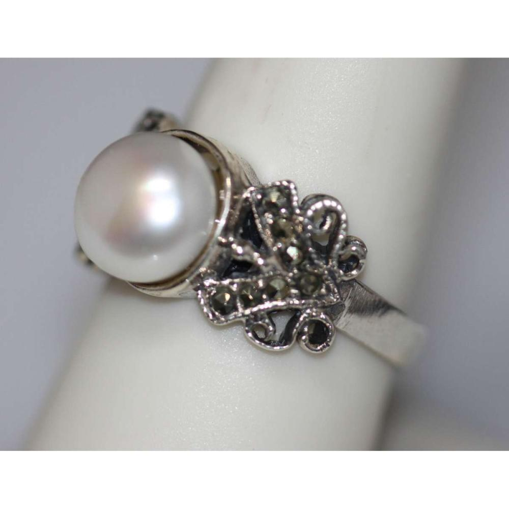 PEARL RING .925 STERLING SILVER #IRS45302