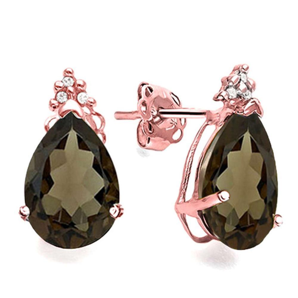 1.01 CT SMOKEY AND ACCENT DIAMOND 10KT SOLID ROSE GOLD EARRING #IRS93745