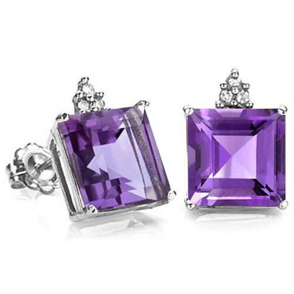 2.0 CARAT AMETHYST 10K SOLID WHITE GOLD SQUARE SHAPE EARRING WITH 0.03 CTW DIAMOND #IRS48820