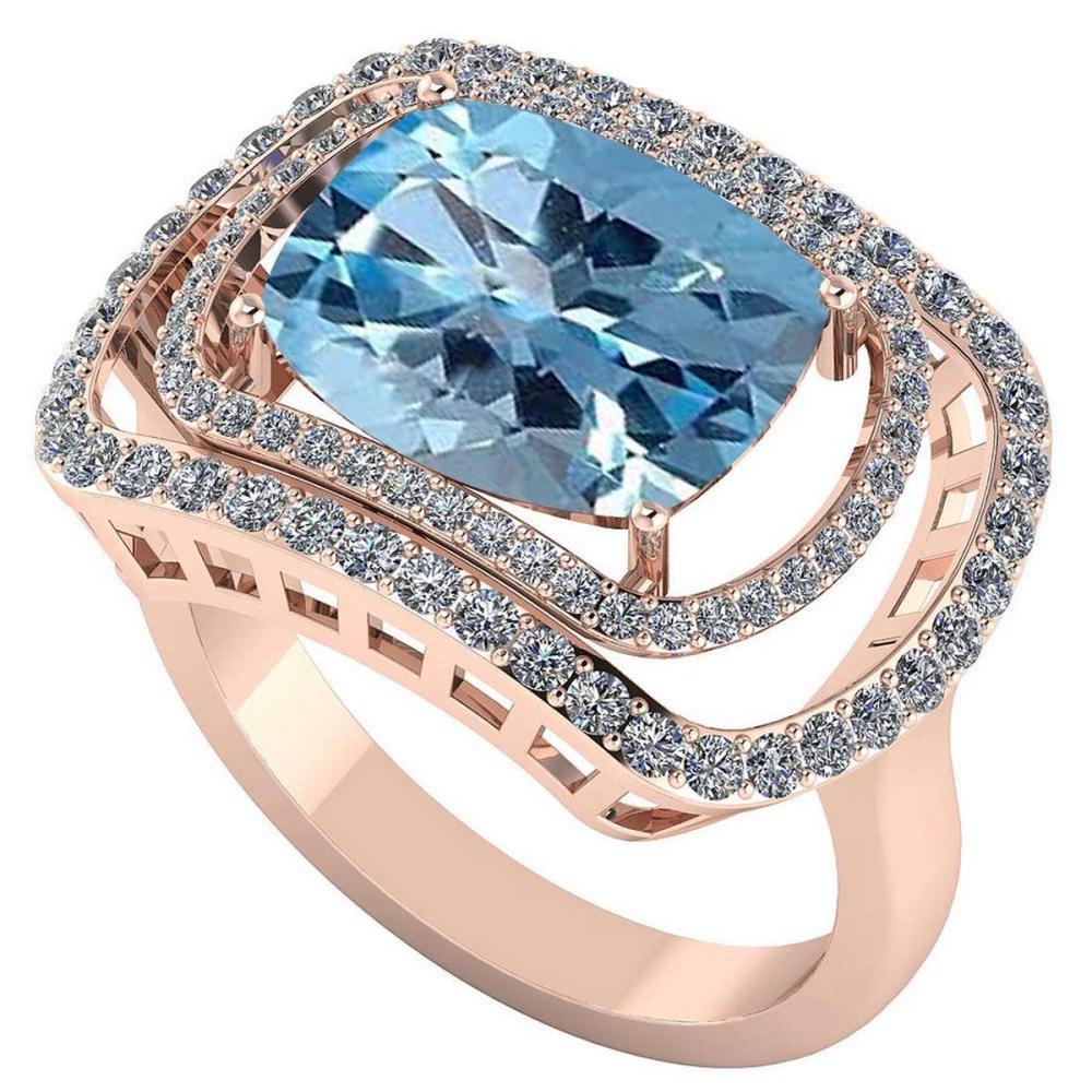 Certified 3.50 CTW Genuine Aquamarine And Diamond 14K Rose Gold Ring #IRS91814