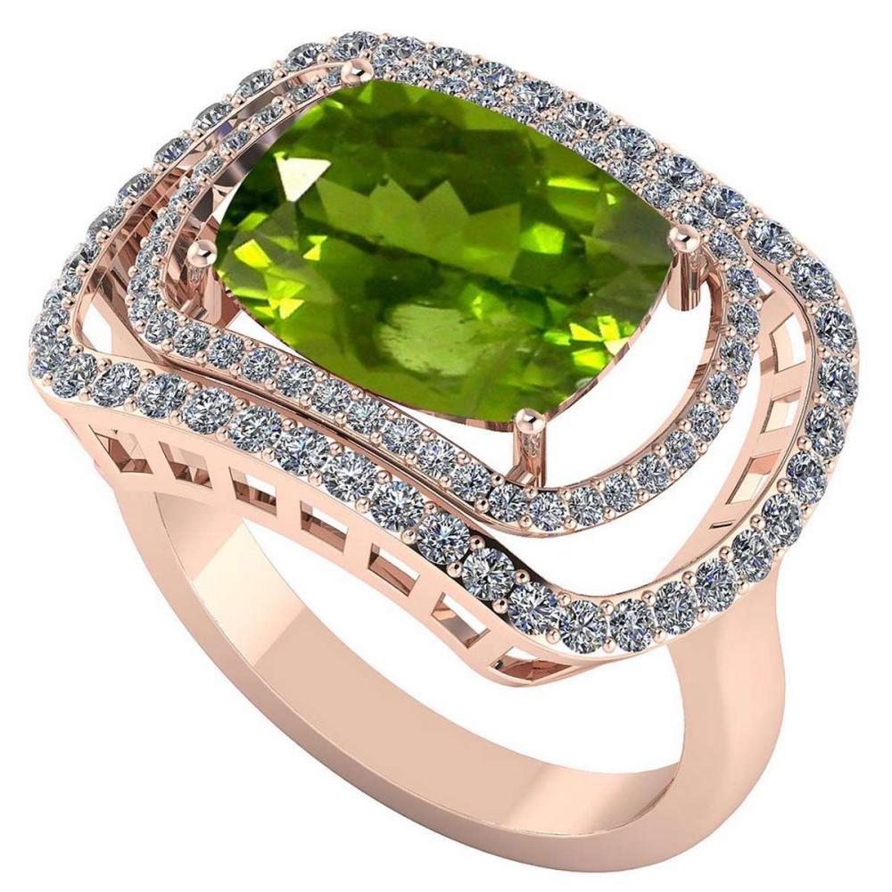 Certified 4.10 CTW Genuine Peridot And Diamond 14K Rose Gold Ring #IRS91808