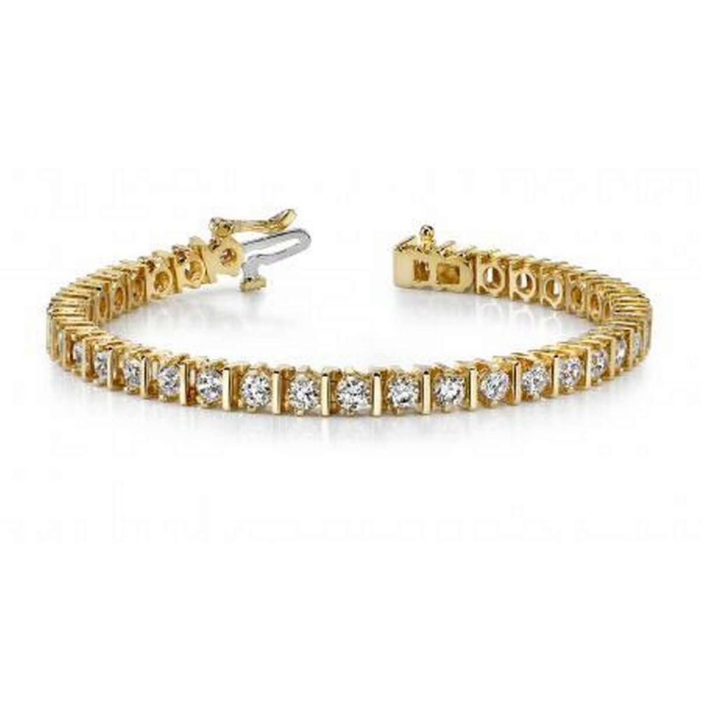 14K YELLOW GOLD 3 CTW G-H VS2/SI1 CLASSIC DIAMOND LINK PRONG SET TENNIS BRACELET #IRS19894