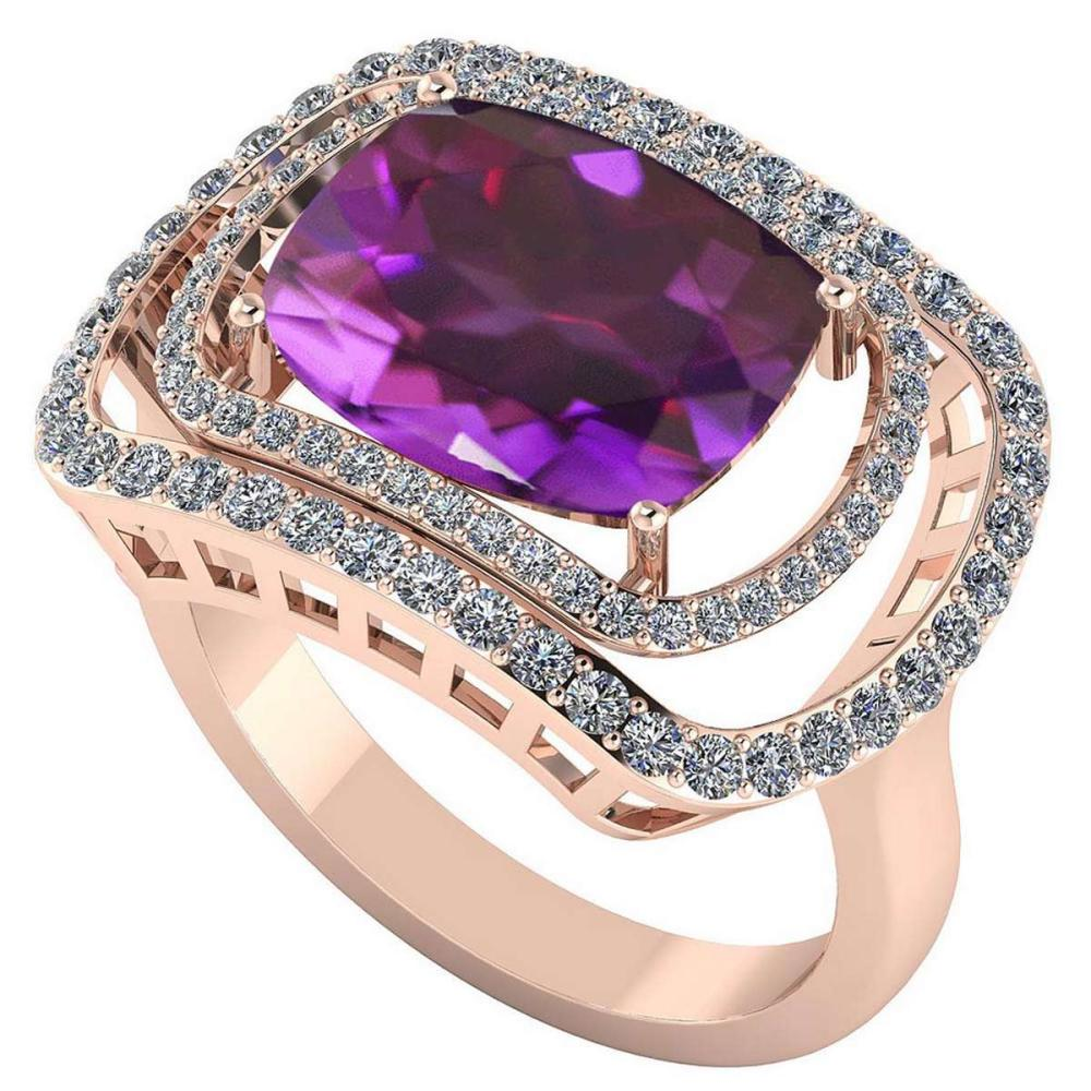 Certified 3.40 CTW Genuine Amethyst And Diamond 14K Rose Gold Ring #IRS91810