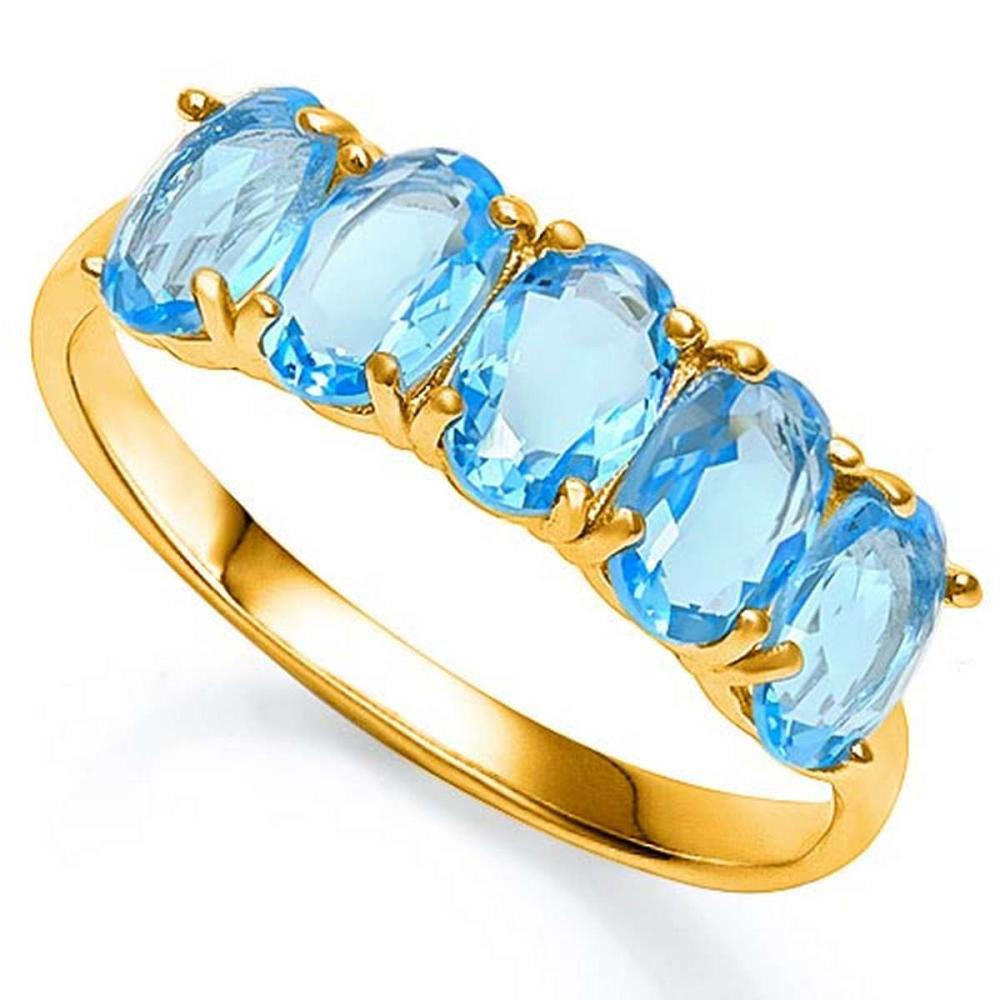 2.6 CTW GENUINE SKY BLUE TOPAZ 10KT SOLID YELLOW GOLD RING #IRS57239