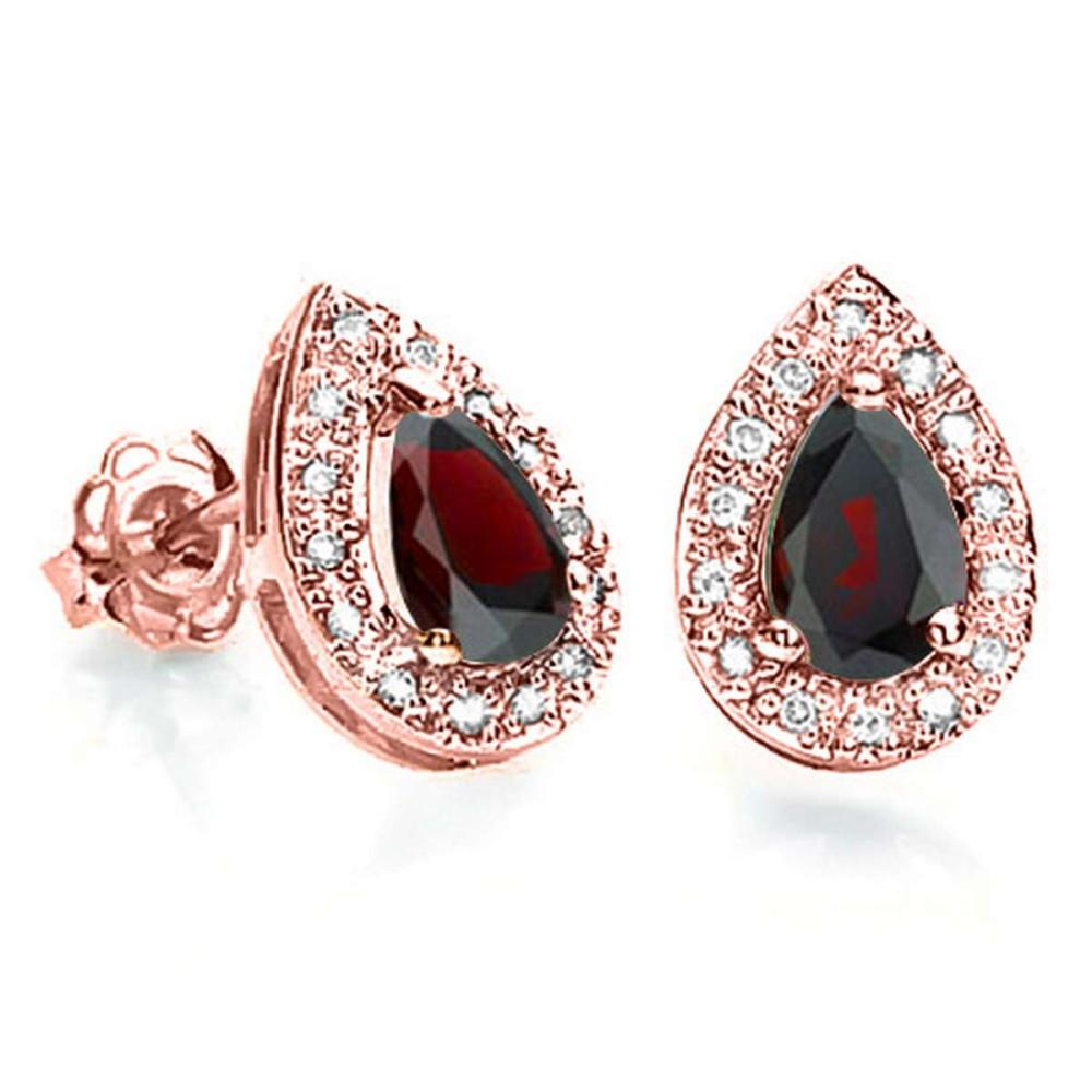 0.69 CT GARNET AND ACCENT DIAMOND 10KT SOLID ROSE GOLD EARRING #IRS93782