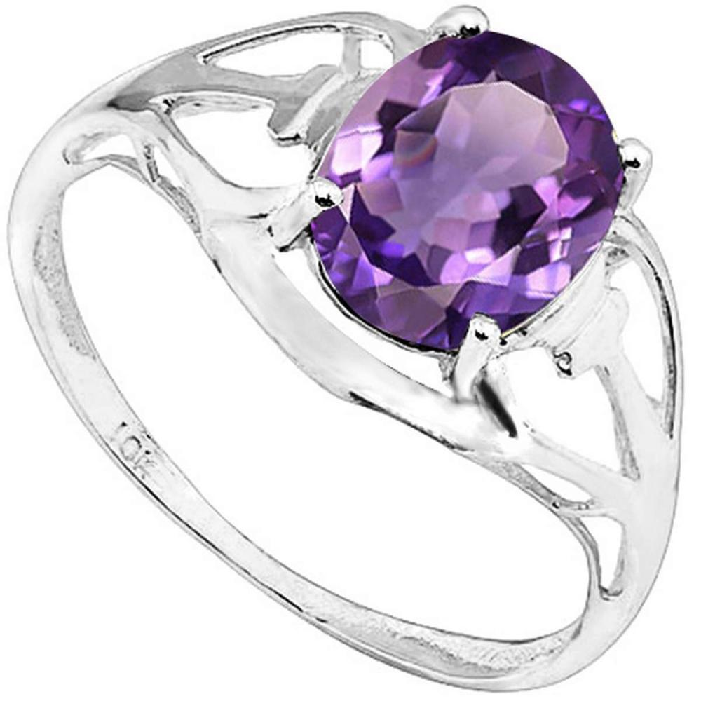 1.24 CT AMETHYST 10KT SOLID WHITE GOLD RING #IRS93793