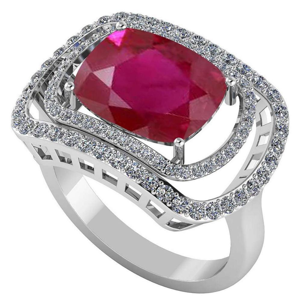 Certified 4.44 CTW Genuine Ruby And Diamond 14K White Gold Ring #IRS91829