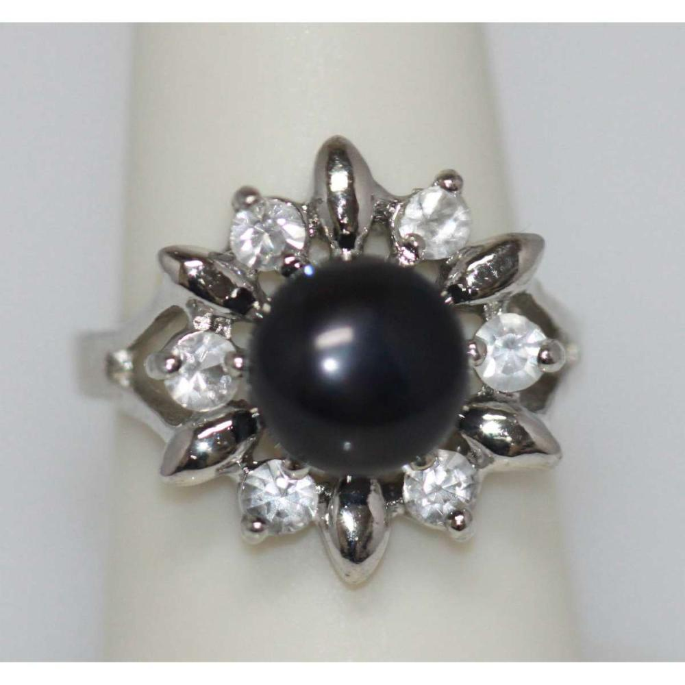SUNNY BLACK PEARL AND CZ RING AUTHENTIC PHILIPPINE PEAR #IRS45487