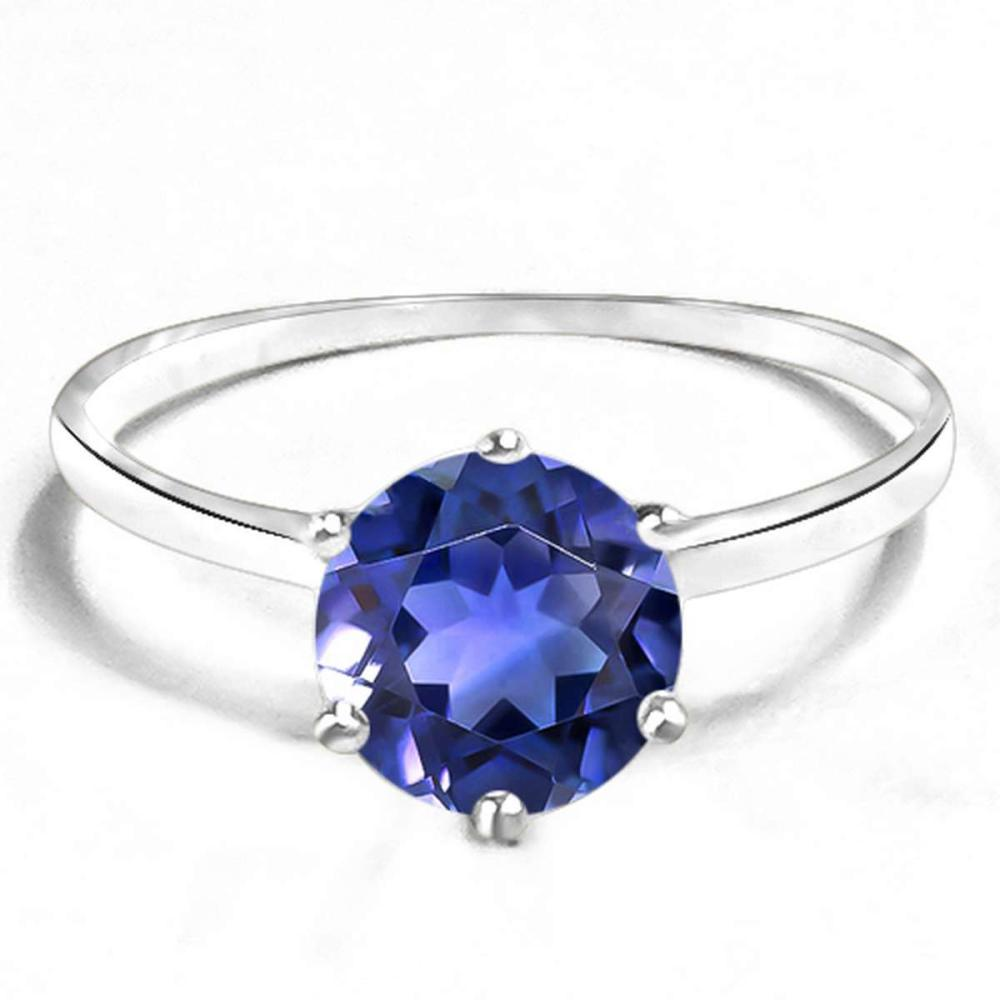 1.38 CT CREATED TANZANITE 10KT SOLID WHITE GOLD RING #IRS93835