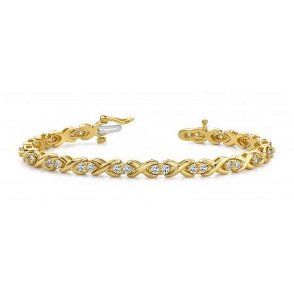 14K YELLOW GOLD 1.50 CTW G-H VS2/SI1 X LINK DIAMOND BRACELET #IRS19900