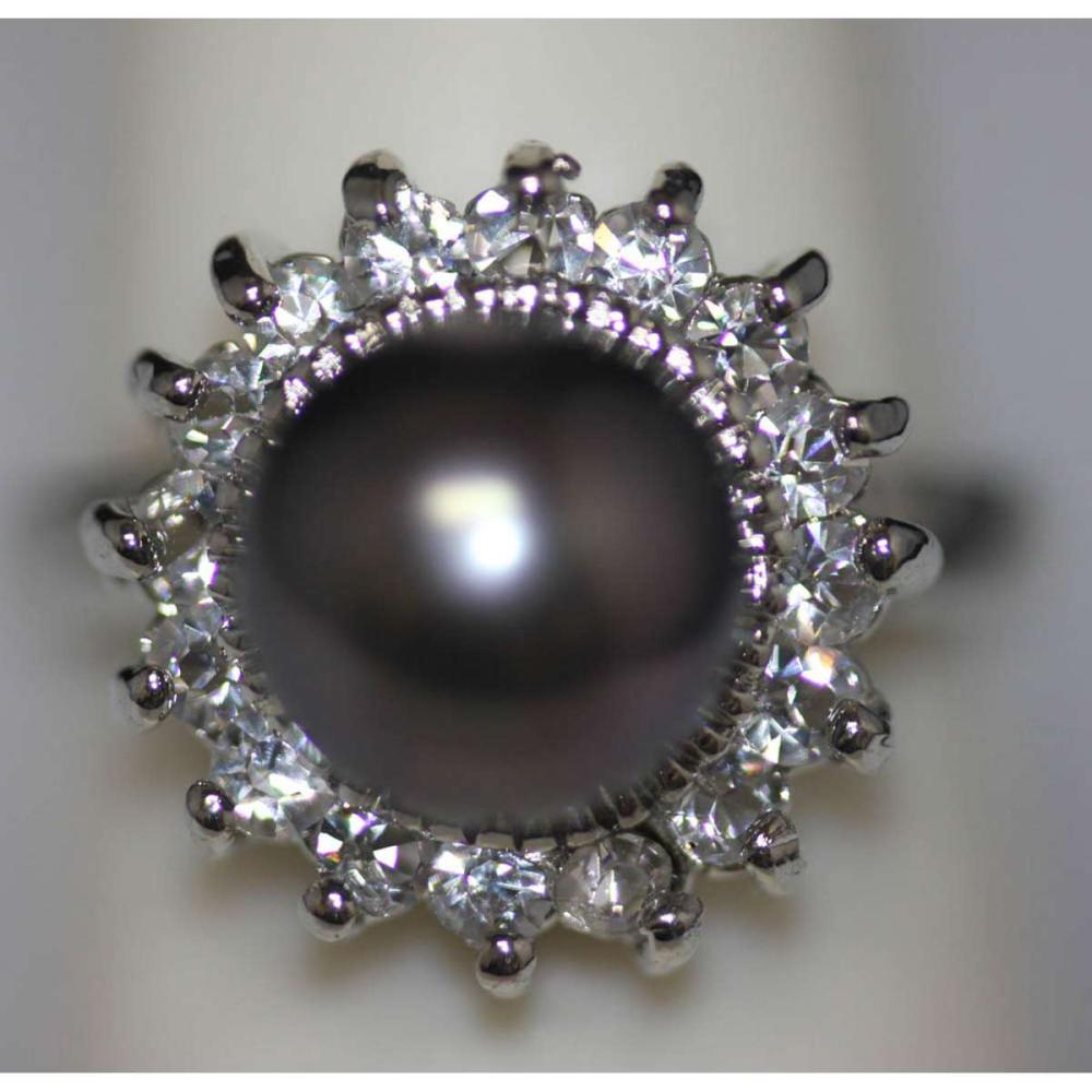 BLACK PEARL AND CZ RING #IRS45323