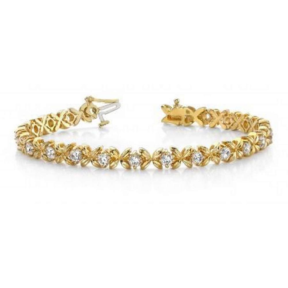 14KT YELLOW GOLD 2 CTW G-H VS2/SI1 FACETED X LINK BRACELET #IRS20115