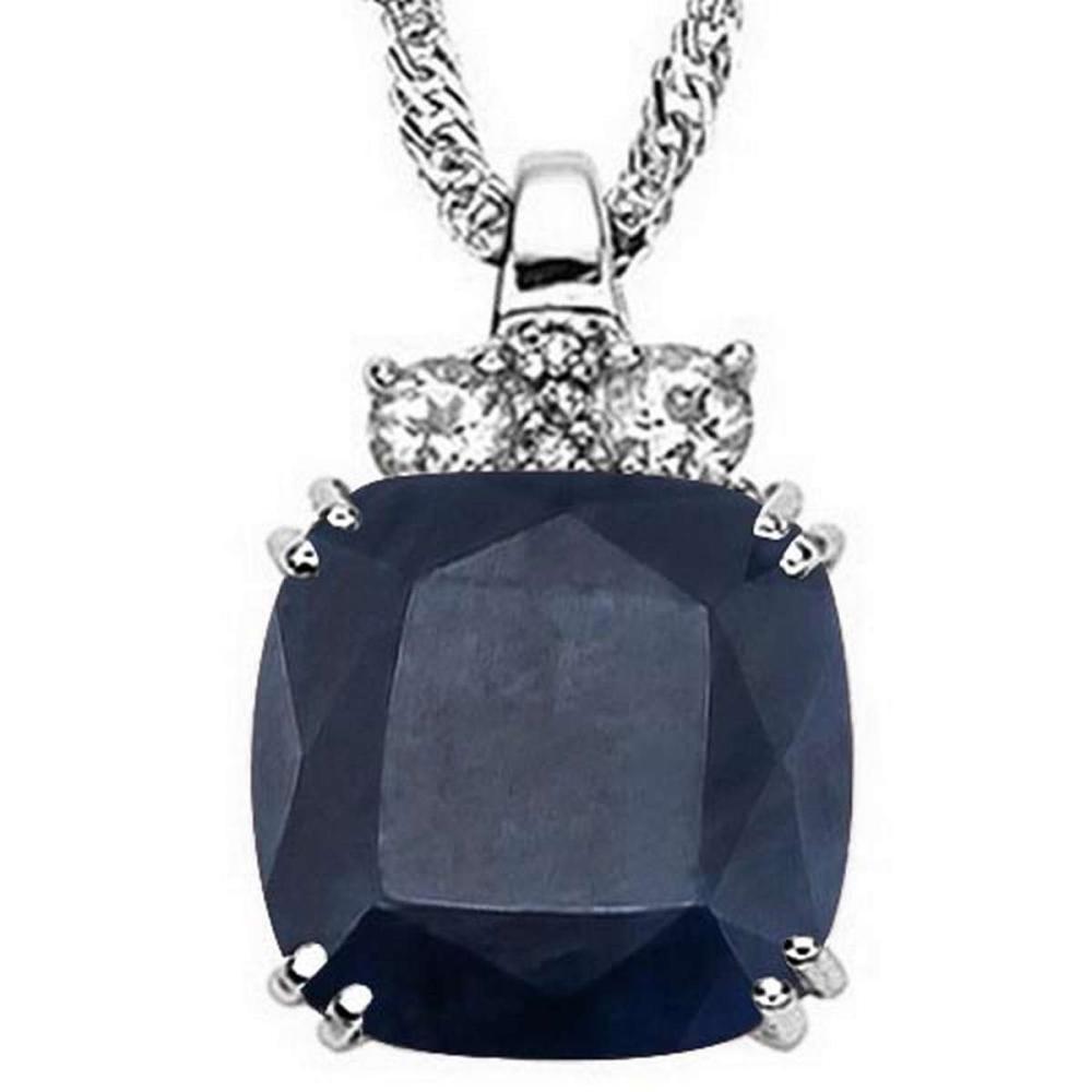 9.6 CTW GENUINE BLACK SAPPHIRE & 0.28 CTW WHITE TOPAZ & GENUINE DIAMOND (3 PCS) 10KT SOLID WHITE GOLD PENDANT #IRS57253