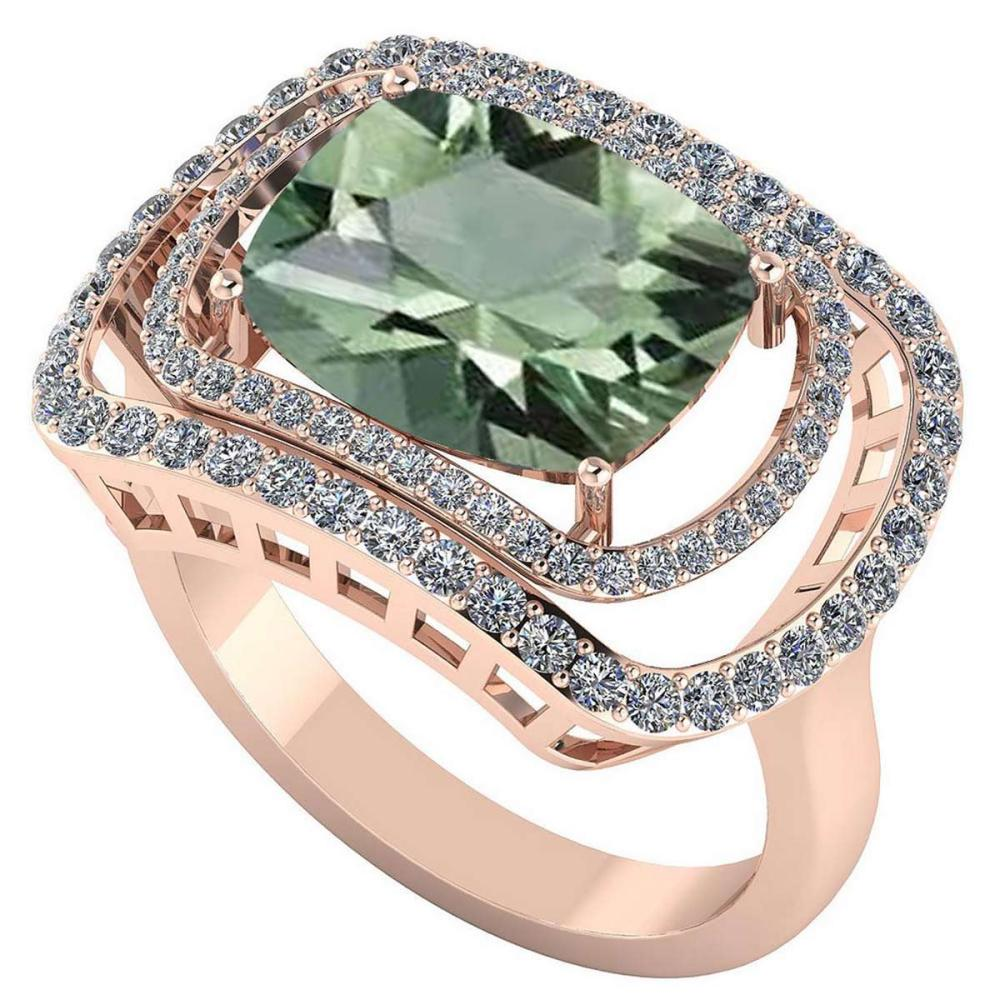 Certified 4.00 CTW Genuine Green Amethyst And Diamond 14K Rose Gold Ring #IRS91811