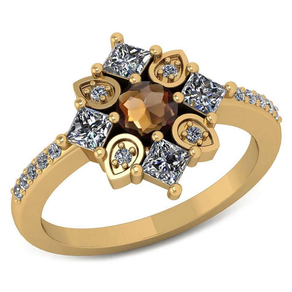Certified .64 CTW Genuine Smoky Quartz And Diamond 14K Yellow Gold Ring #IRS91793