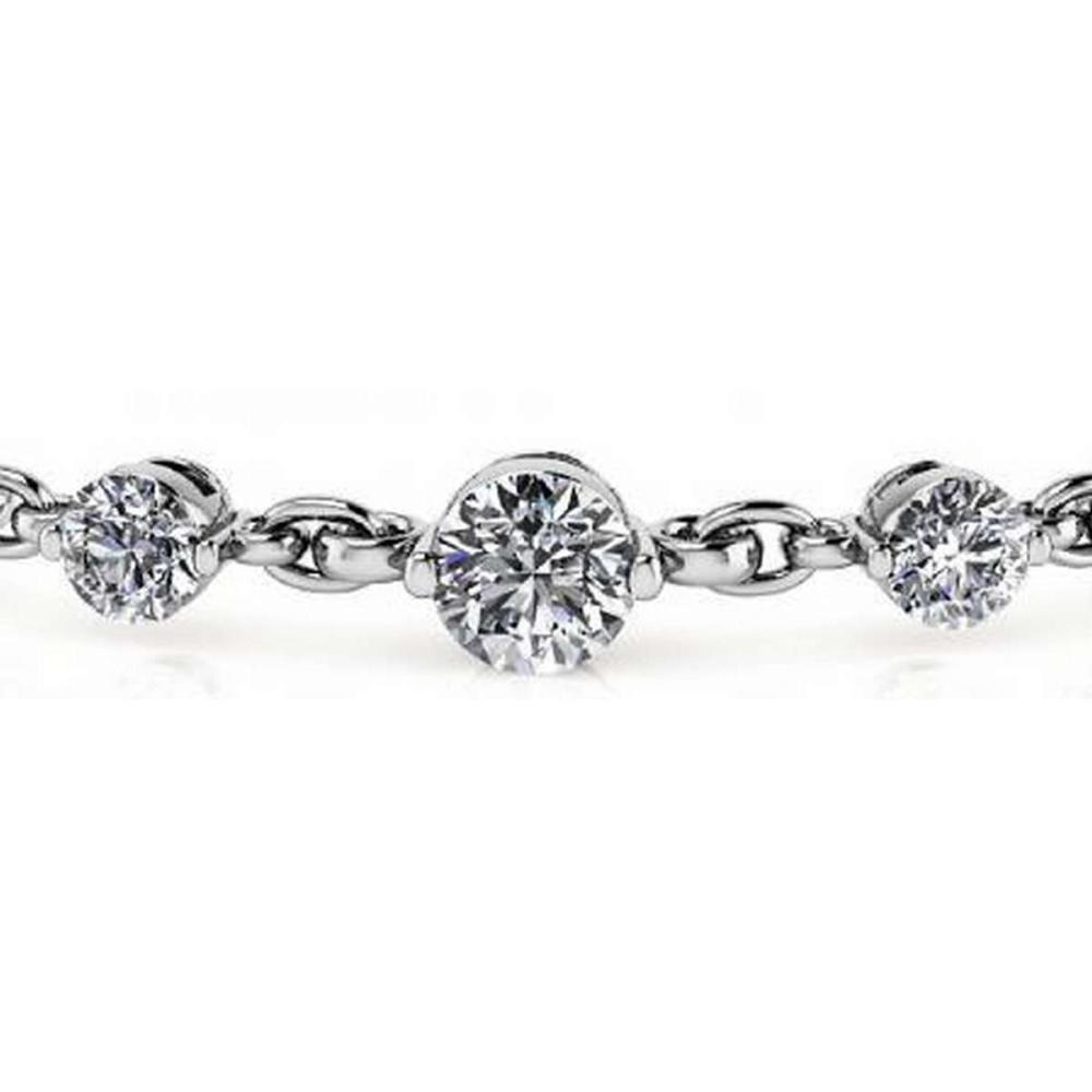 14K WHITE GOLD 5 CTW G-H SI3/I1 DIAMOND AND CHAIN LINK BRACELET #IRS19887