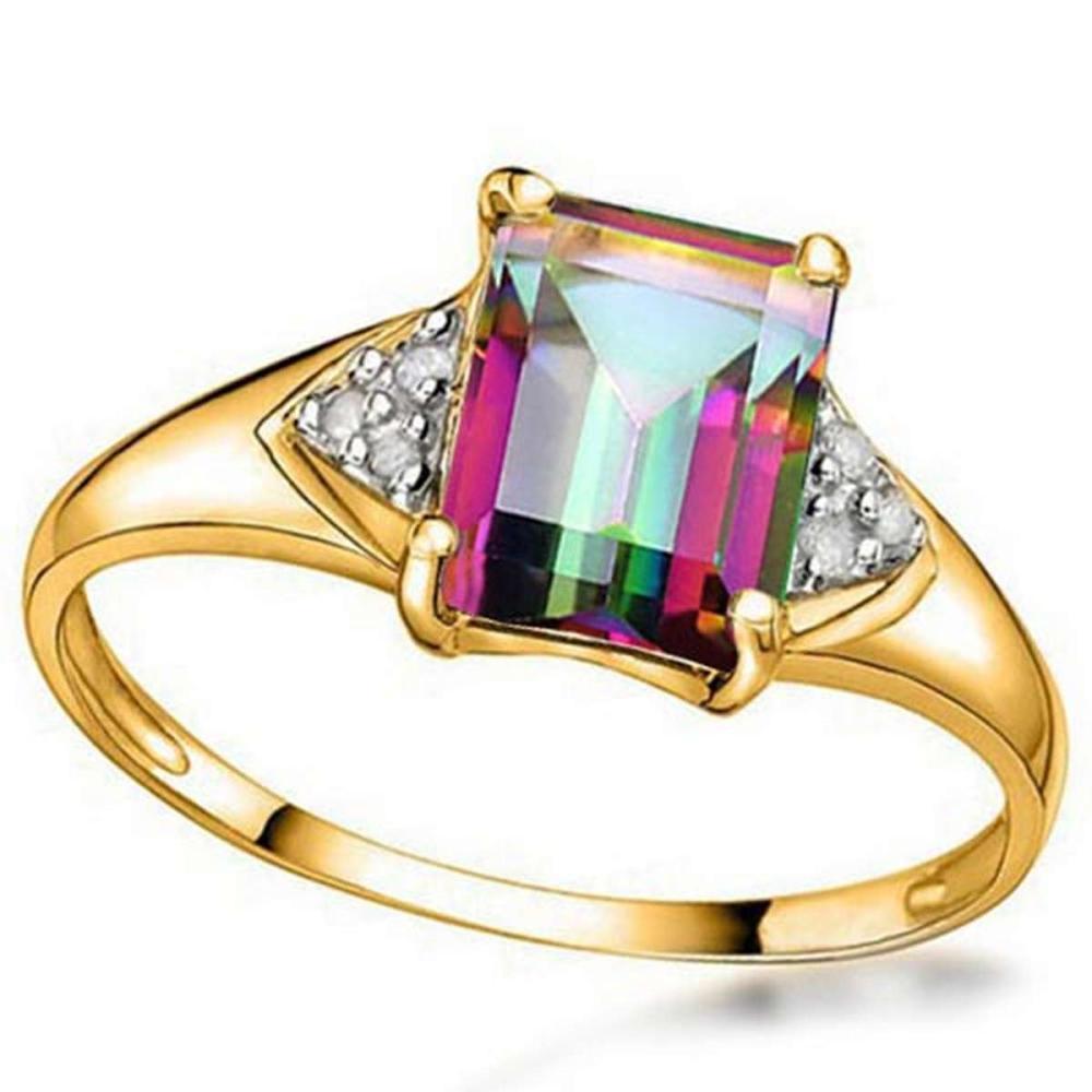 1.38 CTW MYSTIC GEMSTONE & GENUINE DIAMOND (6 PCS) 10KT SOLID YELLOW GOLD RING #IRS80957