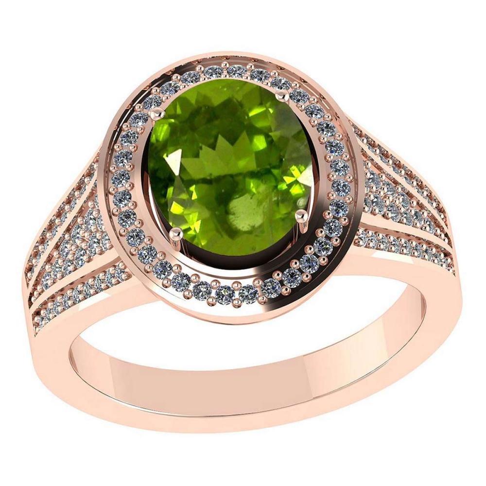 Certified 2.70 CTW Genuine Peridot And Diamond 14K Rose Gold Ring #IRS91852