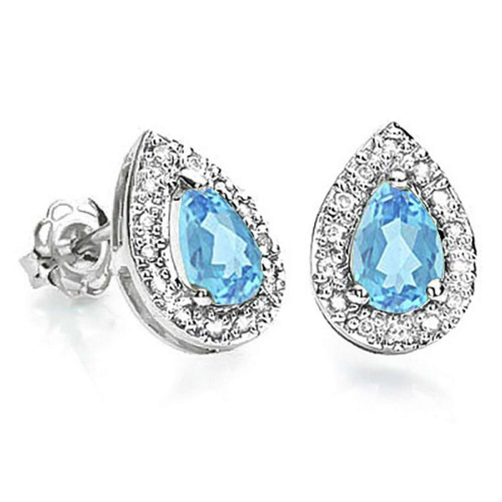0.68 CT SKY BLUE TOPAZ AND ACCENT DIAMOND 10KT SOLID WHITE GOLD EARRING #IRS93762