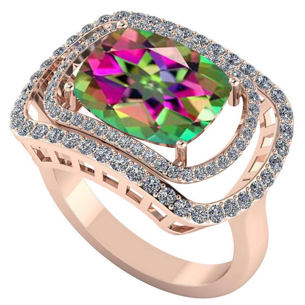 Certified 3.60 CTW Genuine Mystic Topaz And Diamond 14K Rose Gold Ring #IRS91812