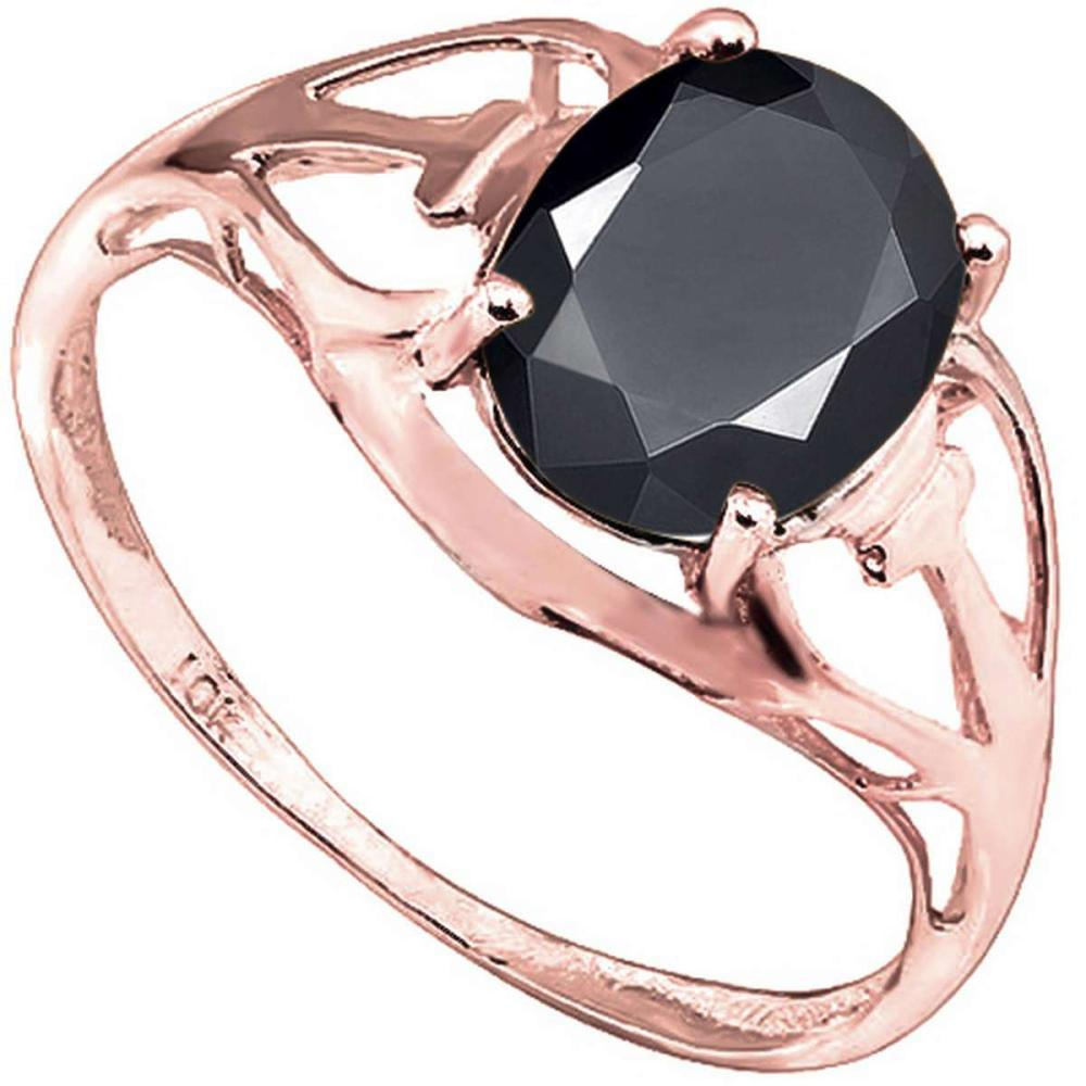 2.2 CT BLACK SAPPHIRE 10KT SOLID RED GOLD RING #IRS93815