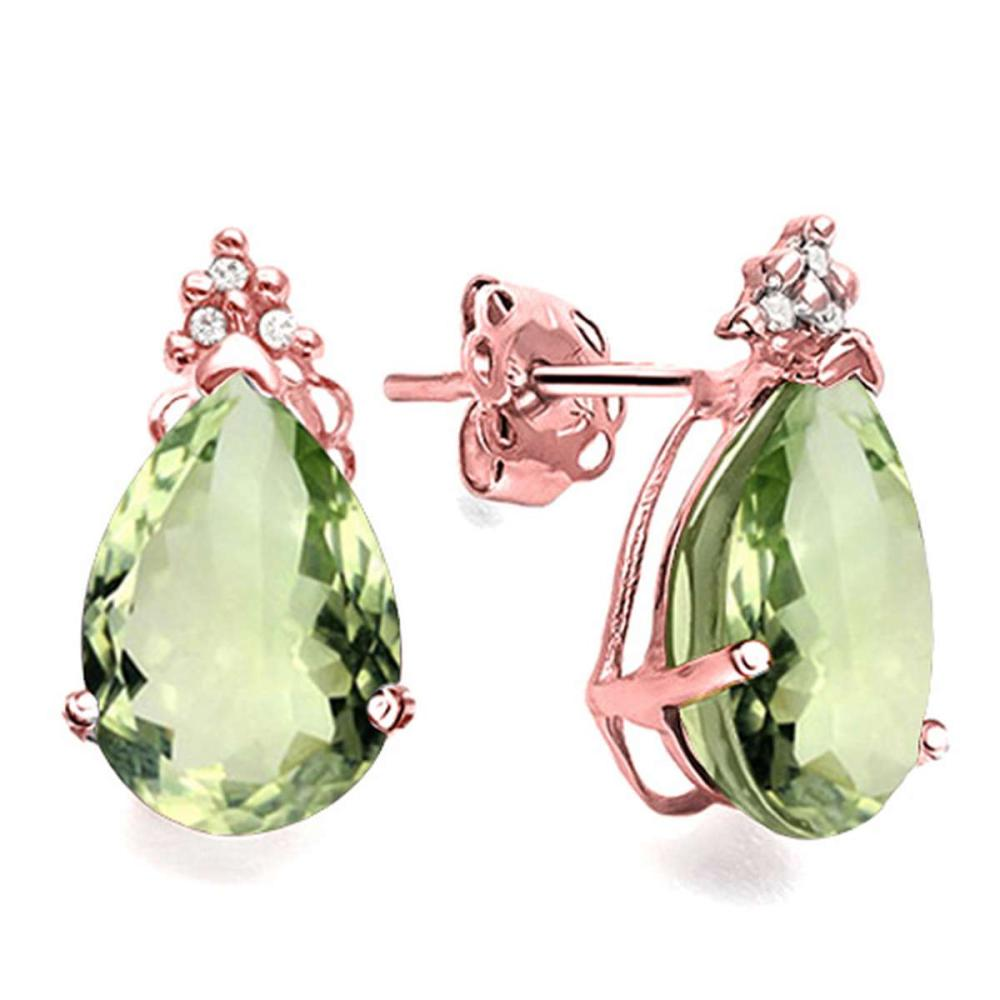 1.13 CT GREEN AMETHYST AND ACCENT DIAMOND 10KT SOLID ROSE GOLD EARRING #IRS93746